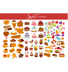 sweet collection of tasty decorated desserts and vector image