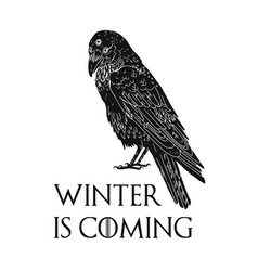 Three eyed raven and winter is coming inscription vector