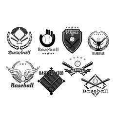 baseball club icons or championship symbols vector image