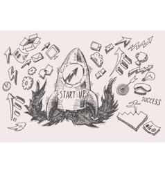 Business Idea start up concept doodles icons set vector image