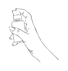 hand with cosmetic cream dispenser vector image