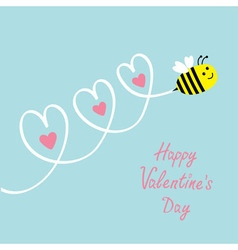 Happy Valentines Day Love card Cute flying bee vector image