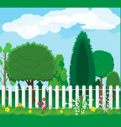 Summer nature landscape with forest and fence vector