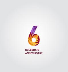 6 year anniversary elegant rainbow template design vector