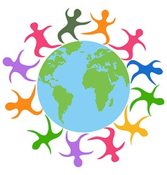 abstract people around world vector image