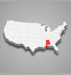 alabama state location within united states 3d map vector image