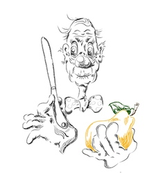 an old man with a pear vector image