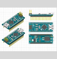 Arduino nano microcontroller vector
