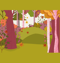 autumn landscape trees forest flowers leaves vector image