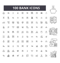bank editable line icons 100 set vector image