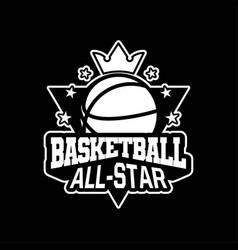 Basketball all star shield emblem or badge for vector