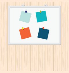 Blank colorful sticky notes with pin on wood vector