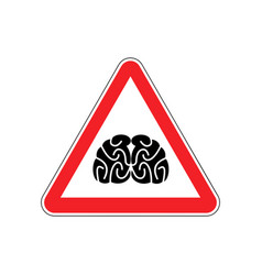Brains warning sign red think hazard attention vector