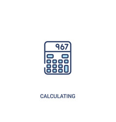 Calculating concept 2 colored icon simple line vector