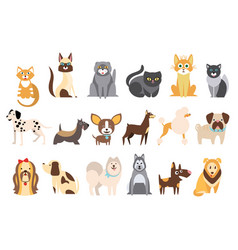 Cartoon collection of funny cats and dogs of vector