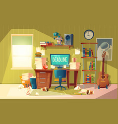 Cartoon deadline concept for freelance job vector