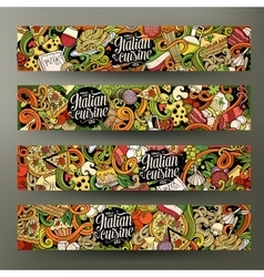 Cartoon hand-drawn doodles italian food banners vector image