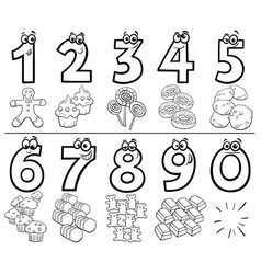 Cartoon numbers set with sweets color book vector