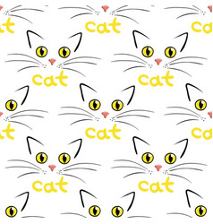 Cat face on white seamless background vector