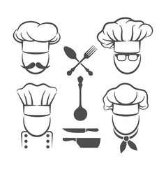 chef menu logo elements vector image