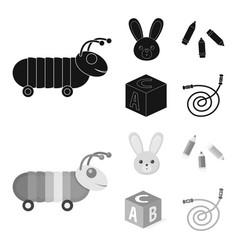 Children toy blackmonochrom icons in set vector