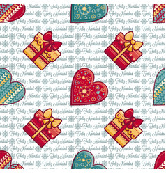 Christmas background hearts and gift box vector