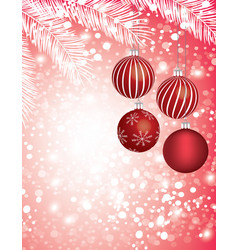 christmas tree and red balls vector image