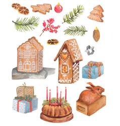 christmas watercolor set sweets cake gingerbread vector image