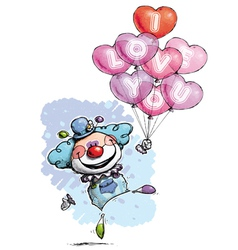 Clown with Heart Balloons Saying I Love You Boy vector image