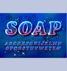 Color soap or glass bubble font vector