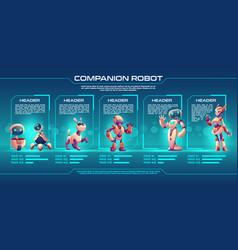 Companion robot evolution timeline infographics vector