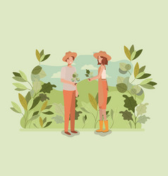 couple planting tree in the park vector image