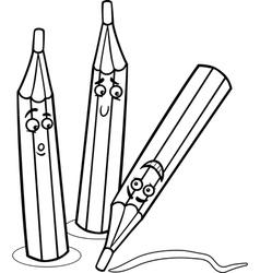 Crayons cartoon coloring page vector