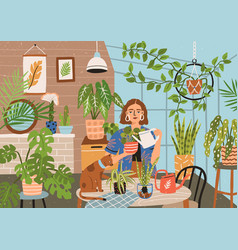 crazy plant lady at greenhouse or home garden vector image