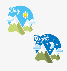 Day and night sun - moon symbol vector