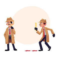 detective character following tiptoeing after vector image