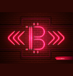 digital bitcoin neon light detailed vector image