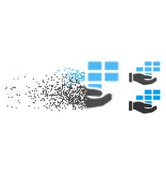 Disintegrating pixel halftone schedule service vector