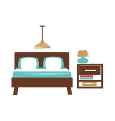 Double bed table with lamp chandelier on ceiling vector
