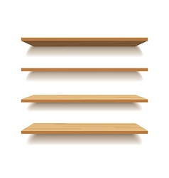 empty wooden shelf isolated background vector image