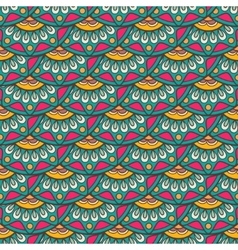 ethnic doodle seamless pattern in retro colors vector image
