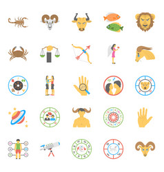 flat icons set of horoscope numerology and astrol vector image
