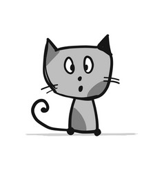 funny kitten sketch for your design vector image