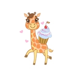 Giraffe With Cupcake vector