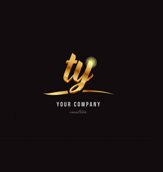 Gold alphabet letter ty t y logo combination icon vector