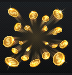 Golden dollar coins explosion isolated vector