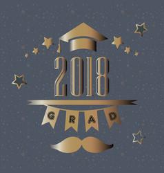graduation class of 2018 stylized retro card vector image