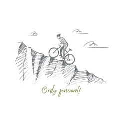 Hand drawn cyclist riding uphill with lettering vector image