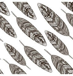Hand drawn doodle feathers seamless pattern vector