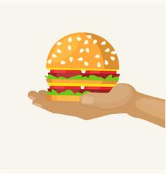 hand holds burger cartoon vector image
